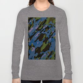 green blue and brown camouflage graffiti painting abstract background Long Sleeve T-shirt