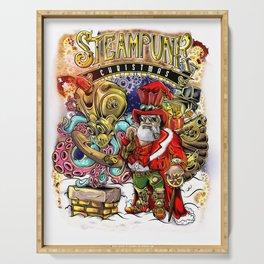Steampunk Santa Claus & Octopus Reindeer Christmas Serving Tray