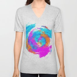 psychedelic splash painting abstract texture in blue pink orange Unisex V-Neck