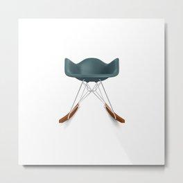 Eames® Molded Plastic Rocker with Wood Base - Blue Metal Print