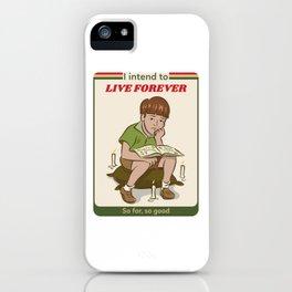 Live forever Retro Postcard Illustration iPhone Case