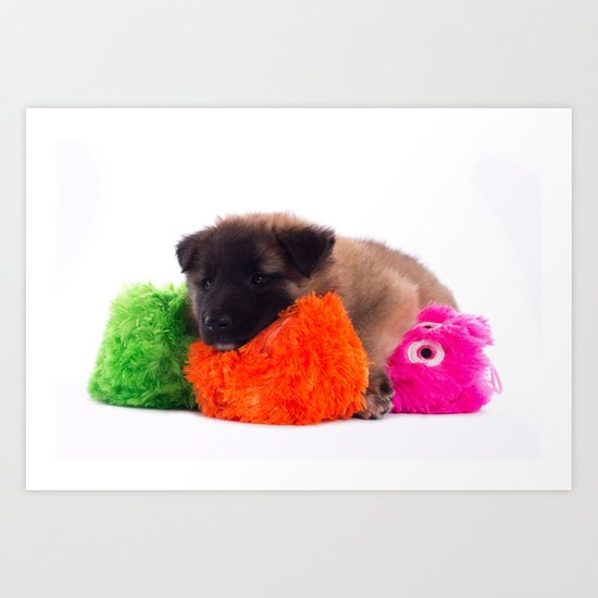 Puppy with colored toys Art Print