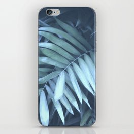 blue palm leaves iPhone Skin