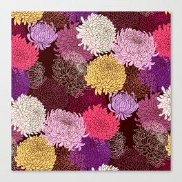 Autumn garden of chrysanthemums Canvas Print