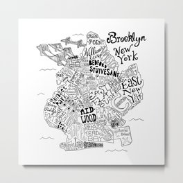 Brooklyn Map Metal Print