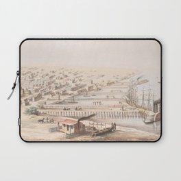 Vintage Pictorial Map of Galveston TX (1855) Laptop Sleeve