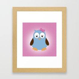 Cool Hooter - Owl illustration pink and blue Framed Art Print