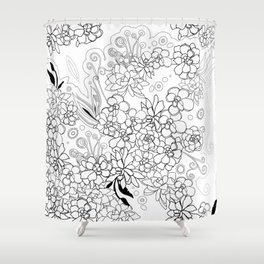 Succulents, black and white Shower Curtain