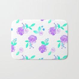 Purple Watercolor Rose Garden Print Bath Mat