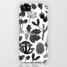 Linocut minimal botanical boho feathers nature inspired scandi black and white art iPhone Case