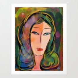 Pop Girl with Dots Frame Art Print