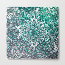 Teal Faux Glitter and Lace Ornamental Floral Mandala Metal Print