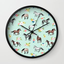 Horses and Small Flowers, Mint Blue, Horse Decor, Floral Print, Horse Art Wall Clock