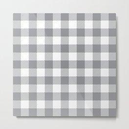 Buffalo Plaid - Grey & White Metal Print