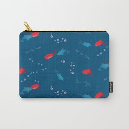 Blue Dolphin and Red Shark Carry-All Pouch