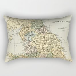North England and Wales Vintage Map Rectangular Pillow