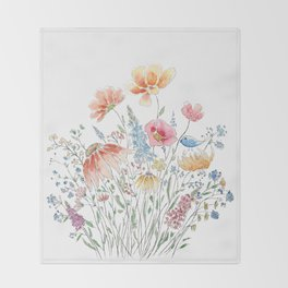 wild flower bouquet and blue bird- ink and watercolor 2 Throw Blanket
