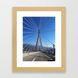 suspension bridge crossing Corinth Gulf strait, Patra, Greece Framed Art Print