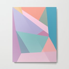 Fractured Triangles in Playful Color Metal Print