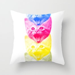 CMYKat Throw Pillow