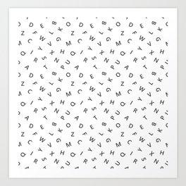 The Missing Letter Alphabet W&B Art Print