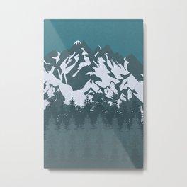 Trees and Mountains Metal Print