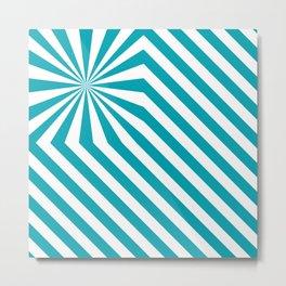 Stripes explosion - Blue Metal Print