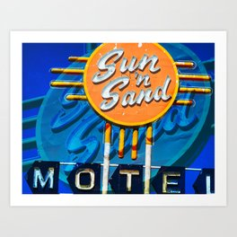 Sun and Sand on Route 66 Old Sign Art Print