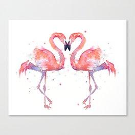 Pink Flamingo Love Two Flamingos Canvas Print