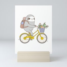 Biking Sloth Mini Art Print