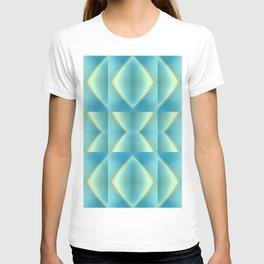 Green Blue Metallic Geometric Pattern T-shirt