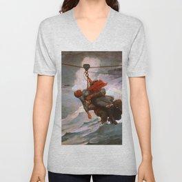 Winslow Homer1 - The Life Line - Digital Remastered Edition Unisex V-Neck