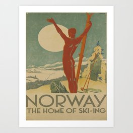 manifesto Norway the home of skiing voyage poster Art Print