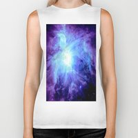 nebula Biker Tanks featuring NEBula Purple Periwinkle Blue by Galaxy Dreams