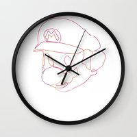 quibe Wall Clocks featuring One line Supermario by quibe