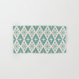 Mid Century Modern Atomic Triangle Pattern 710 Green and Beige Hand & Bath Towel