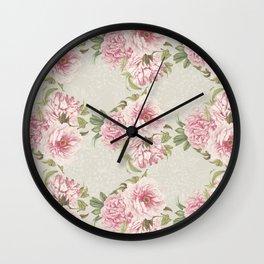 pink peony pattern Wall Clock