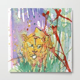 Lonely Lion Hearts Metal Print