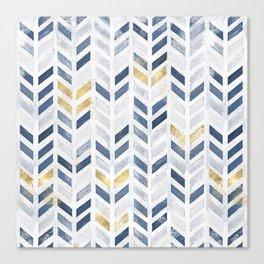 Herringbone chevron pattern. Indigo gold acrylic on canvas Canvas Print