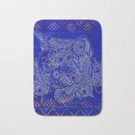 (N20) Tribal Cute Cat Hand Drawing, Traditonal Moroccan Carpet Background Bath Mat