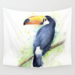 Toucan Tropical Bird Watercolor Wall Tapestry