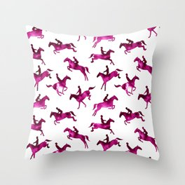 Watercolor Showjumping Horses (Magenta) Throw Pillow