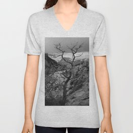 Withered Tree on top of Mountain Range, Big Bend - Landscape Photography Unisex V-Neck