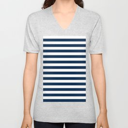 Narrow Horizontal Stripes - White and Oxford Blue Unisex V-Neck