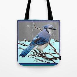 TEAL AMERICAN BLUE JAYS  GREY WINTER ART Tote Bag