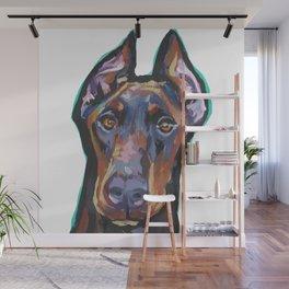 Fun Doberman Pinscher Dog Portrait bright colorful Pop Art by LEA Wall Mural