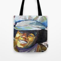 mike wrobel Tote Bags featuring Young Mike by Monifa Charles