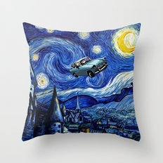 Harry And Ron on The Flying Car Throw Pillow