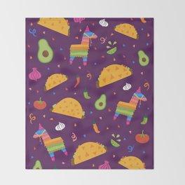Taco Fiesta in Purple Throw Blanket