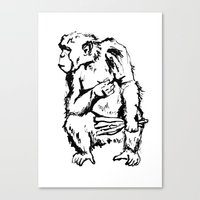 ape Canvas Prints featuring Ape by Kathryn Burton